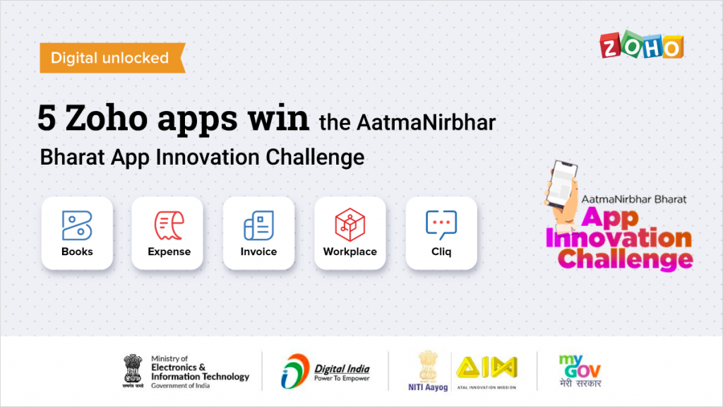 Zoho Wins Governmnet of Indi'a Atmnirbhar App Challange